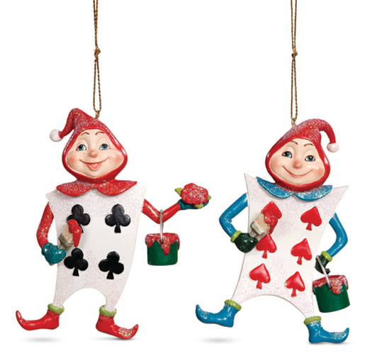 8892: Wonderland Cards Ornaments (Set of Two) (Product Detail)