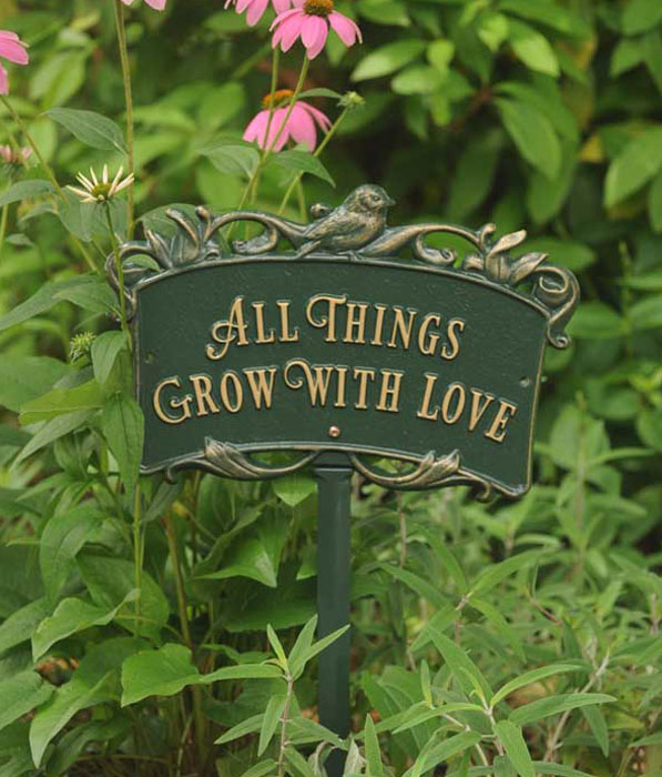 "9440: ""All Things Grow with Love"" Sign/Green (Product Detail)"