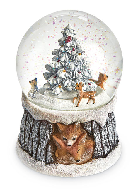 8929: Foxes Musical Snow Globe (Product Detail)