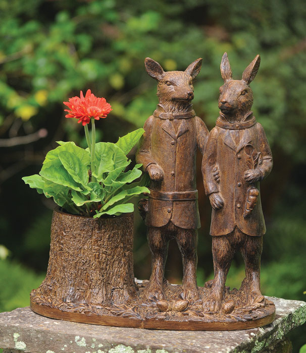 9461: Fox and Rabbit Planter (Product Detail)
