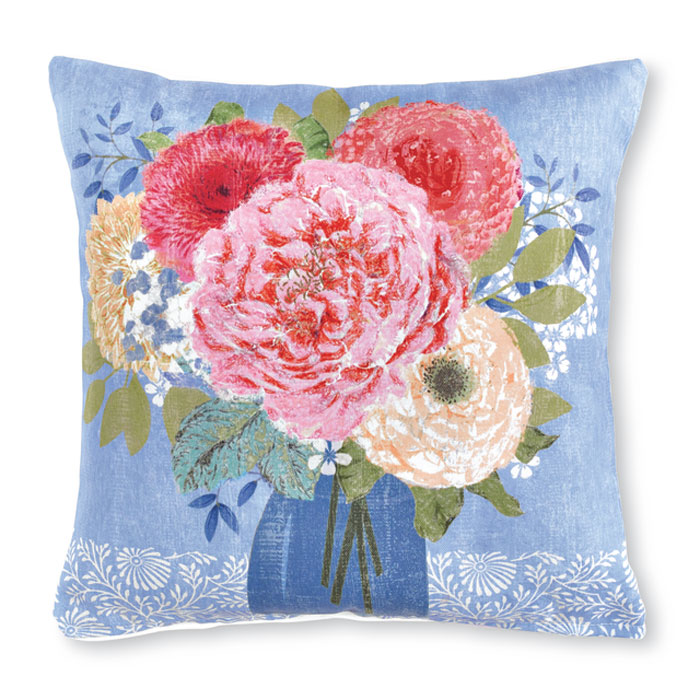 9465: Summer Blues Bouquet Pillow II (Product Detail)