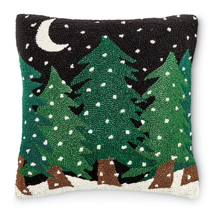 8960: Trees on a Snowy Night Pillow (Product Detail)