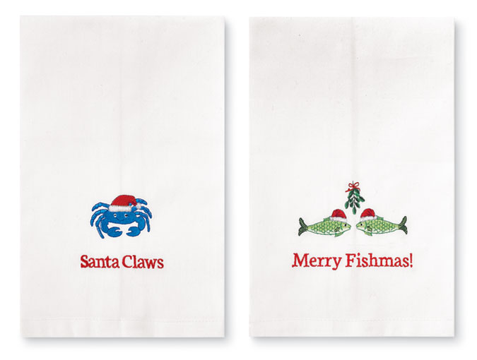 8864: Santa Claws and Merry Fishmas! Towels (Set of Two) (Product Detail)