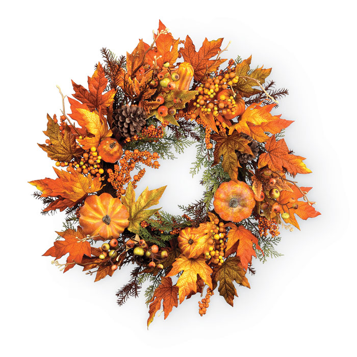8819: Harvest Wreath with Pumpkins  (Product Detail)