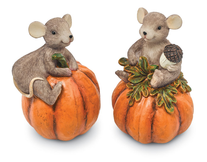 8824: Mice on Pumpkins (Set of Two) (Product Detail)