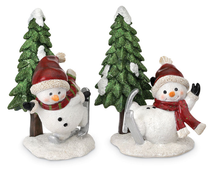 8828: Snowman Skiers with Trees (Set of Two) (Product Detail)