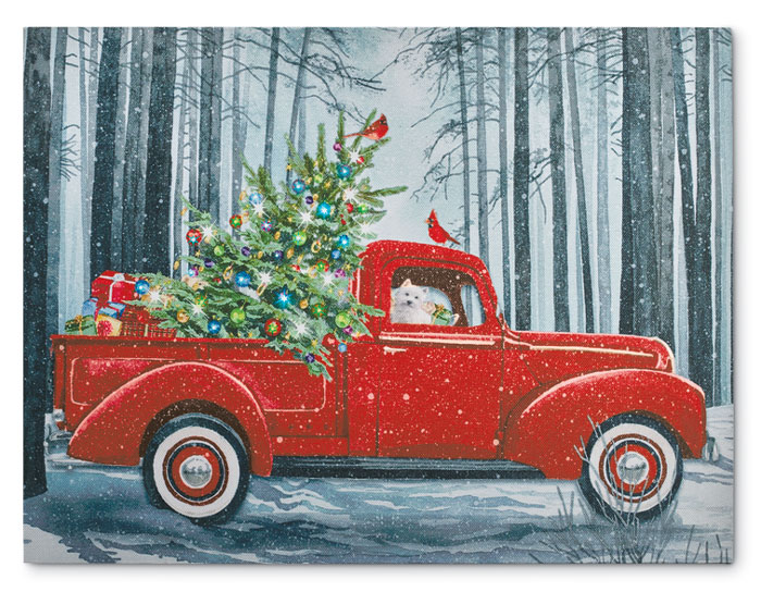 8799: Lighted Christmas Tree and Truck Print (Product Detail)