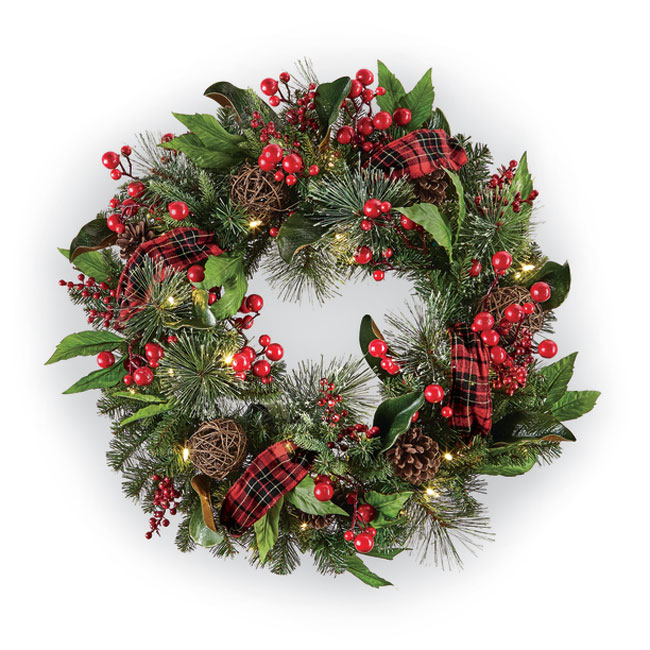 8928: Lighted Wreath with Plaid Ribbon (Product Detail)