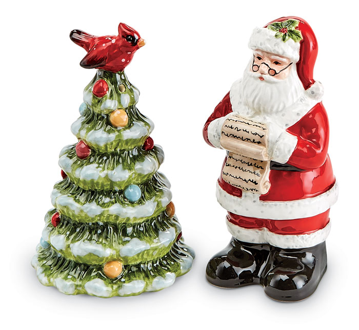 9453: Santa and Tree Salt and Pepper Shakers (Set of Two) (Product Detail)