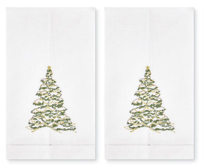 8867: Embroidered Tree Towels (Set of Two) (Product Detail)