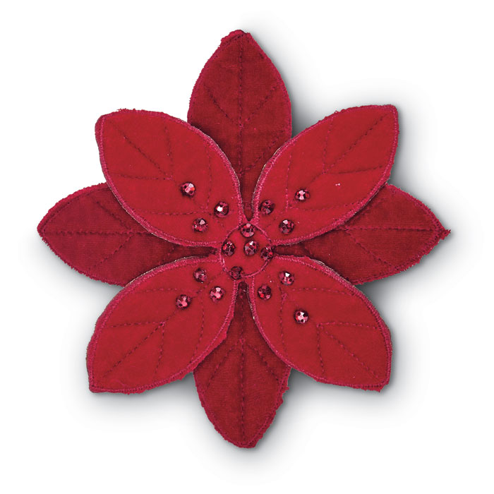 "9468: Velvet Poinsettias with 4"" Clips (Set of Two) (Product Detail)"