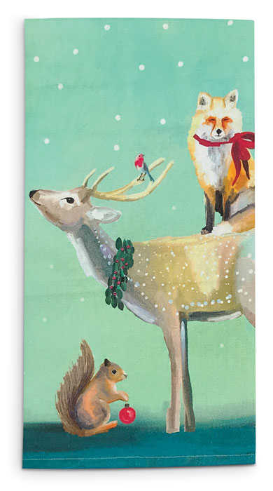 8972: Buck with Fox and Squirrel Tea Towel (Product Detail)