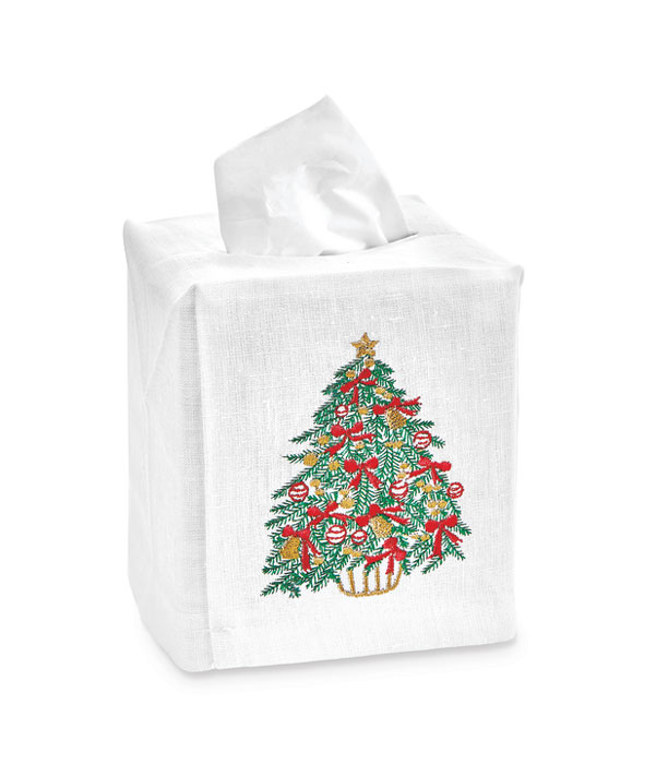 9472: Christmas Tree Embroidered Tissue Box Cover (Product Detail)