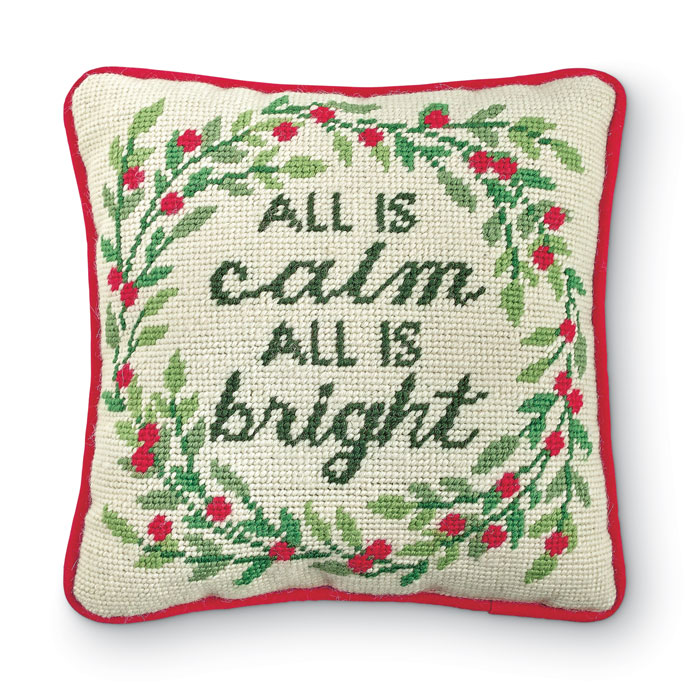 8862: All Is Calm Needlepoint Pillow (Product Detail)