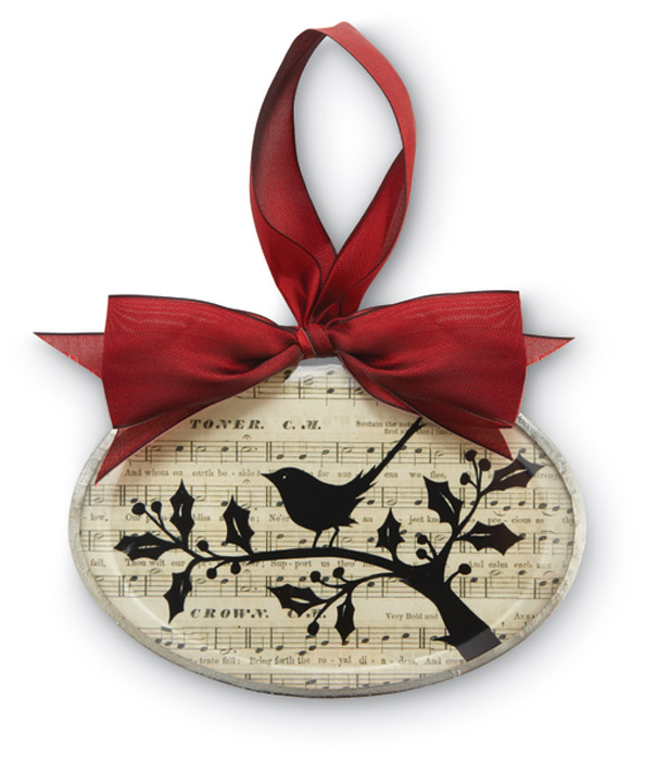 9524: Silhouette Ornament - Bird and Holly Oval (Product Detail)