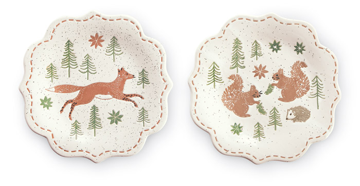 8953: Fox and Squirrels Plates (Set of Two) (Product Detail)