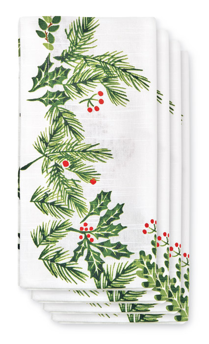 8951: Holly and Berries Napkins (Set of Four) (Product Detail)