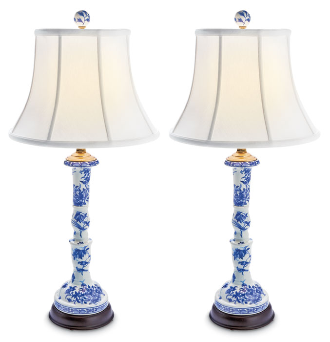 9692: Blue and White Porcelain Buffet Lamps (Set of Two) (Product Detail)