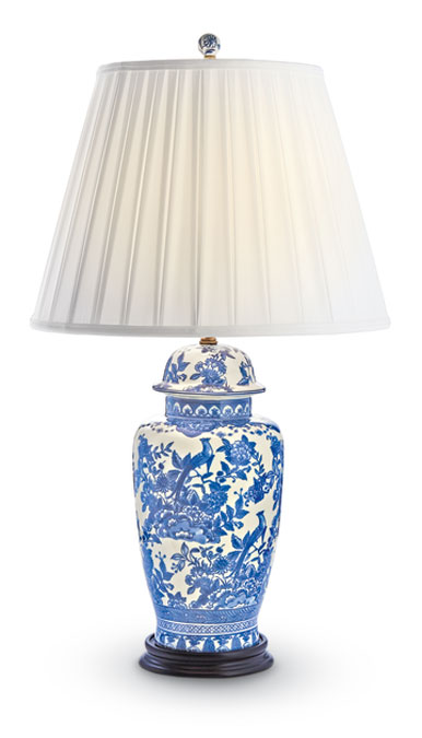 9693: Blue and White Jar Lamp with Pleated Shade (Product Detail)