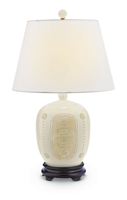 9695: White Pierced Bone China Lamp (Product Detail)