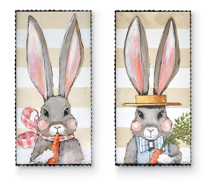 9552: Big Ears Bunnies Wall Art (Set of Two) (Product Detail)