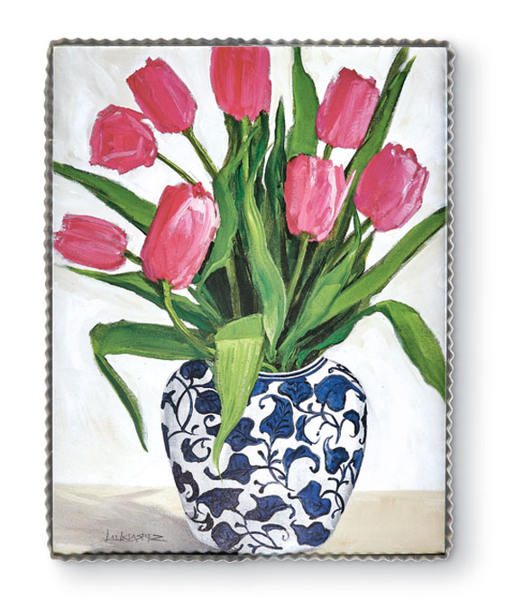 9565: Blue and White Vase with Tulips Wall Art (Product Detail)