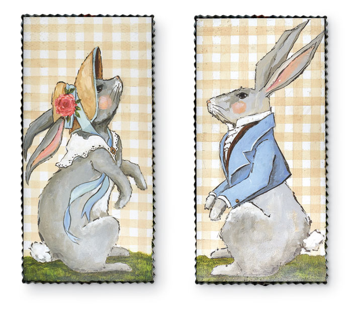 9567: Lady and Gentleman Bunny Wall Art (Set of Two) (Product Detail)