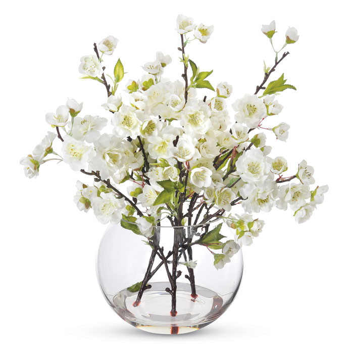 9608: Cherry Blossoms in a Glass Vase/White (Product Detail)
