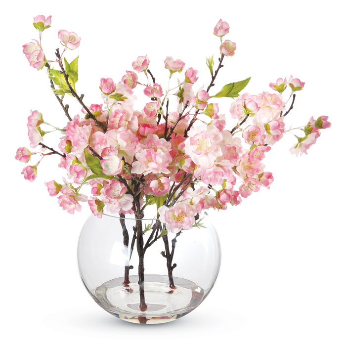 9609: Cherry Blossoms in a Glass Vase/Pink (Product Detail)