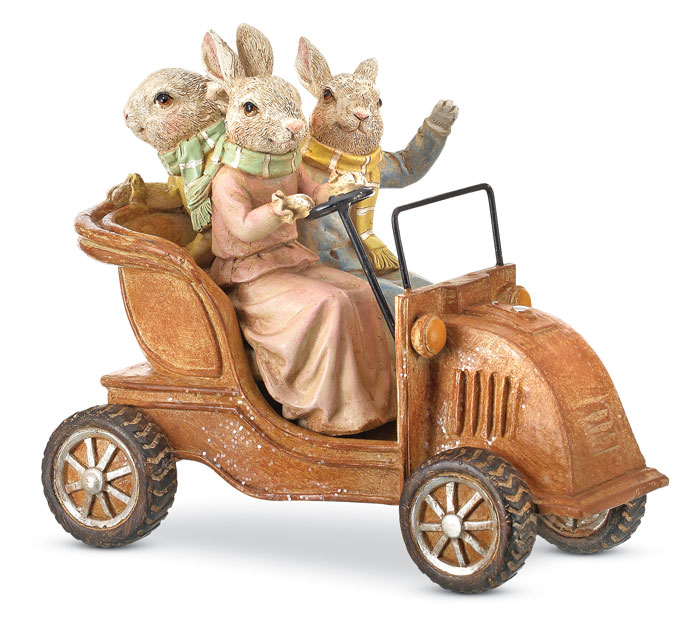 9601: Bunny Family in Vintage Car (Product Detail)