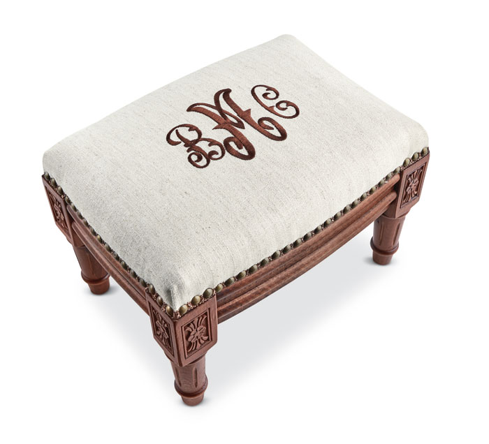 9714: Monogrammed Footstool - Brown Wood Finish (Product Detail)