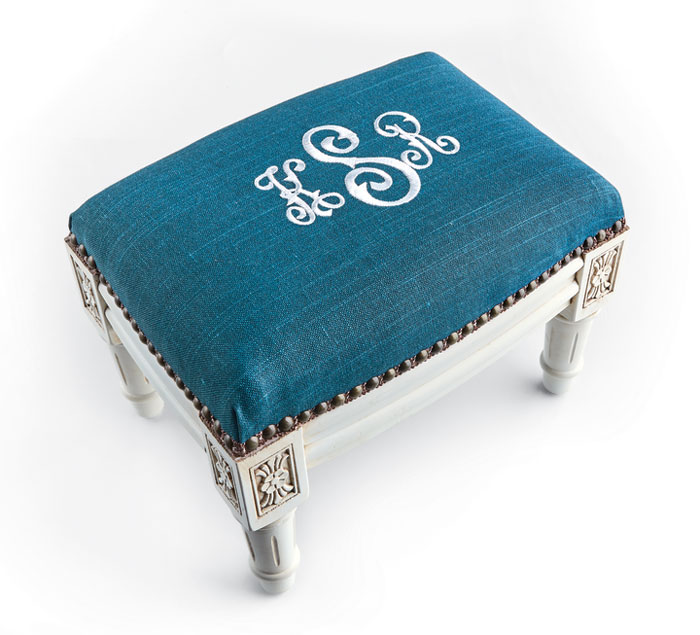 9713: Monogrammed Footstool - Antique White Wood Finish (Product Detail)