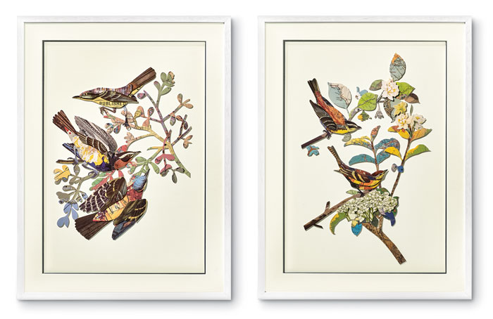 9640: Birds Collage Wall Art (Set of Two) (Product Detail)