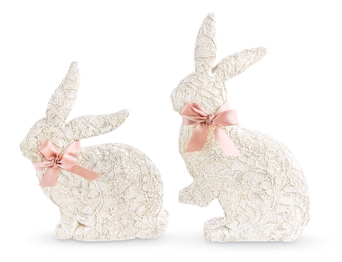 9583: Lace Bunnies with Satin Bows (Set of Two) (Product Detail)