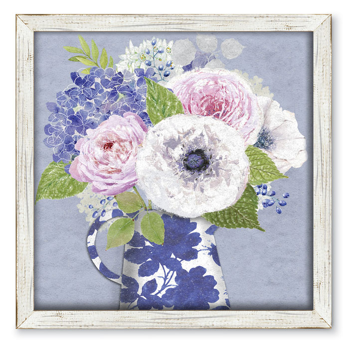 9737: Floral Bouquet in Blue and White Vase Wall Art (Product Detail)