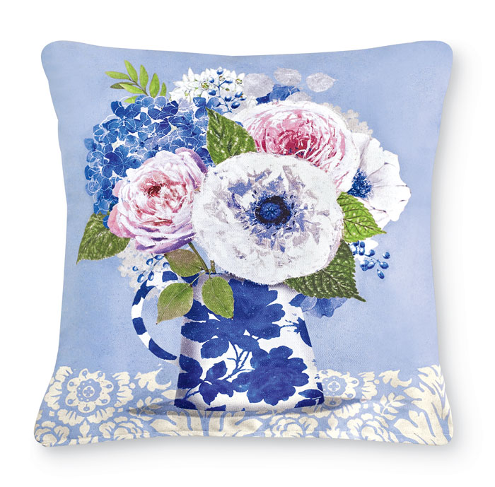 9738: Floral Bouquet in Blue and White Vase Pillow (Product Detail)