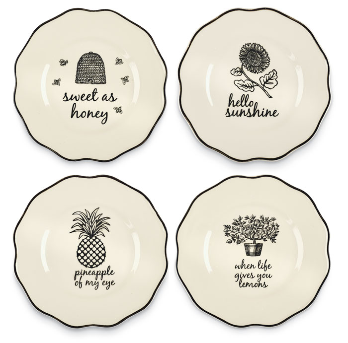 9786: Black and White Porcelain Sassy Serving Plates (Set of Four) (Product Detail)