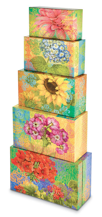 9790: Floral Boxes (Set of Five) (Product Detail)