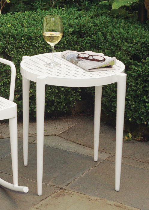 859999: Faux Cane Aluminum Side Table - Sample (Product Detail)