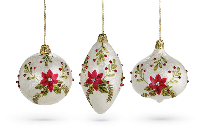 9915: Capiz Poinsettia Ornaments (Set of Three) (Product Detail)