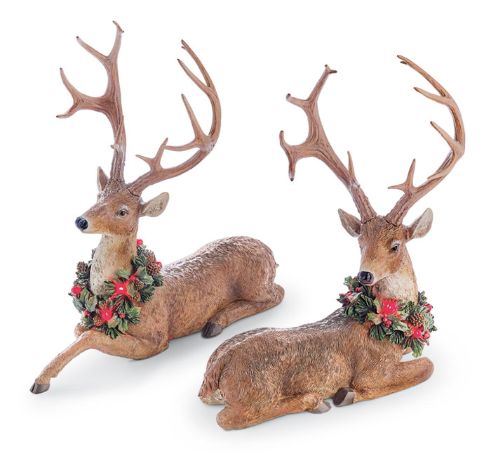 9044: Deer with Lighted Garland (Set of Two) (Product Detail)