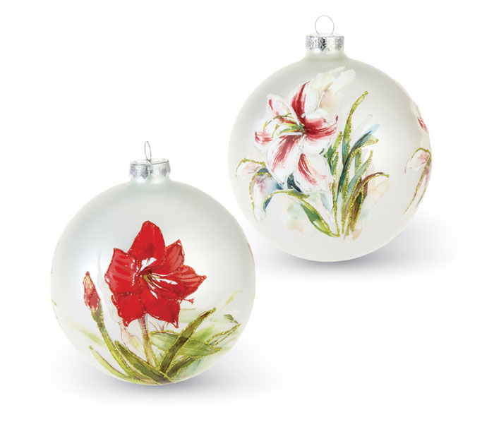 9912: Red Amaryllis Ball Ornament (Product Detail)