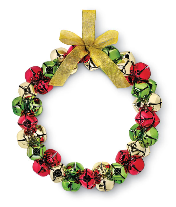 9876: Bells Wreath with Gold Ribbon (Product Detail)