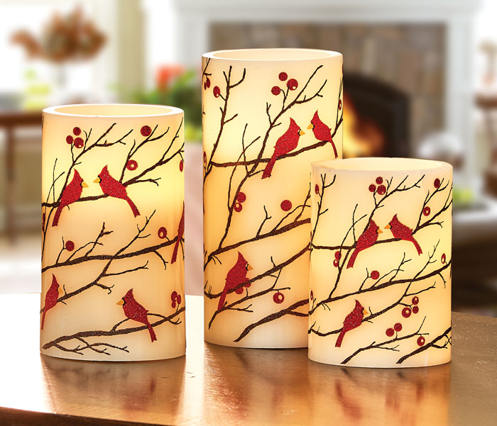 9420: Cardinals LED Pillar Candles with Timer (Set of Three) (Product Detail)