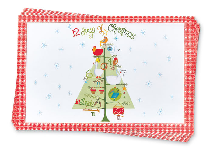 9111: Twelve Days of Christmas Paper Placemats (Set of 24) (Product Detail)