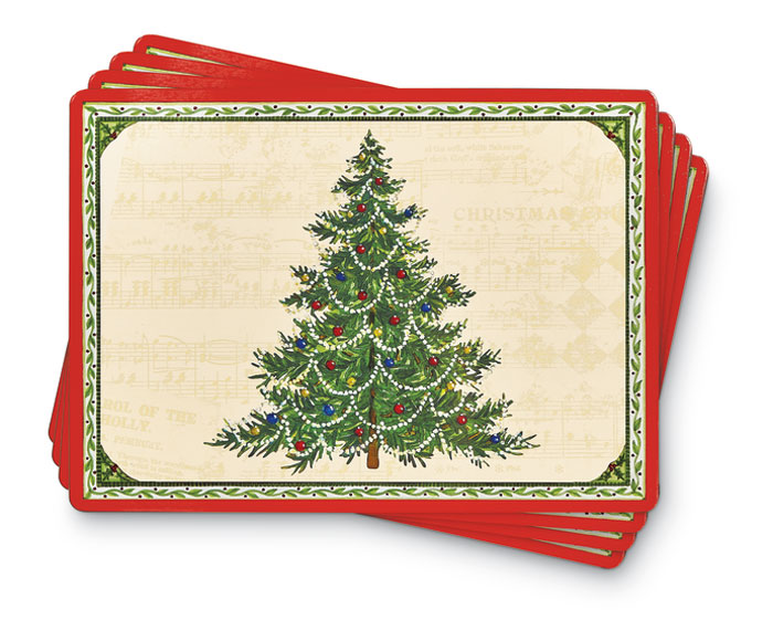 9113: Merry Christmas Tree Placemats (Set of Four) (Product Detail)