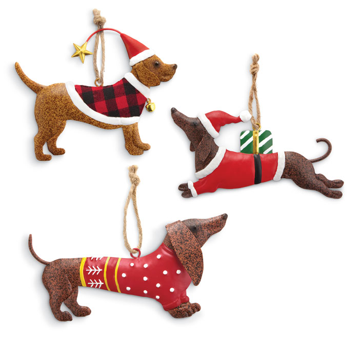 9071: Holiday Dogs Ornaments (Set of Three) (Product Detail)