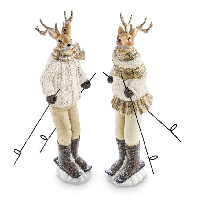 9045: Skiing Deer Couple (Set of Two) (Product Detail)