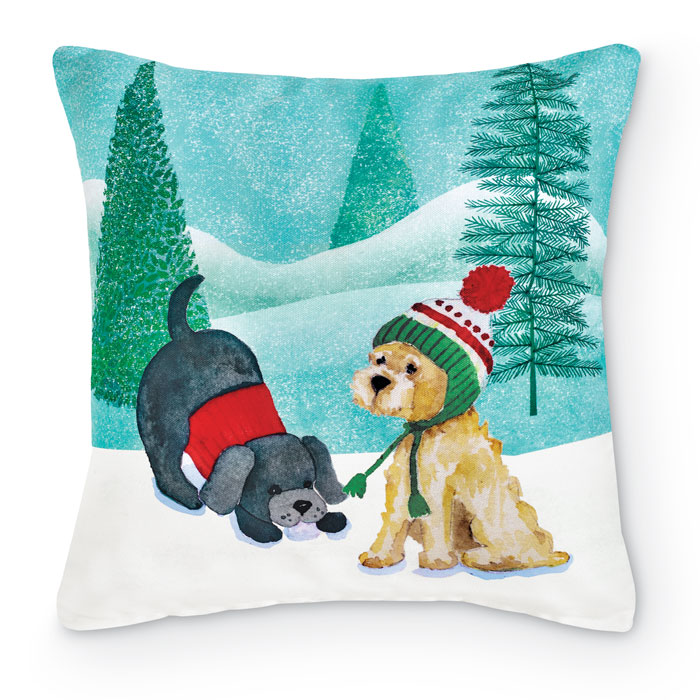 9099: Winter Pups Pillow II (Product Detail)