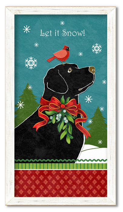 """9134: """"Let It Snow"""" Lab with Friend Framed Wall Art (Product Detail)"""